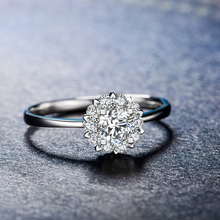"""ZOCAI Drown In Love """" 1.5 Carat Diameter Effect """" 0.21 CT Certified Real Diamond Engagement Ring 18K White Gold (Au750) W02967"""
