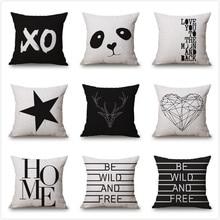 Letter Love Home Cushion Covers Cotton Linen Black White Pillow Cover Sofa Bed Decorative Pillow Case Almofadas 45x45cm недорого