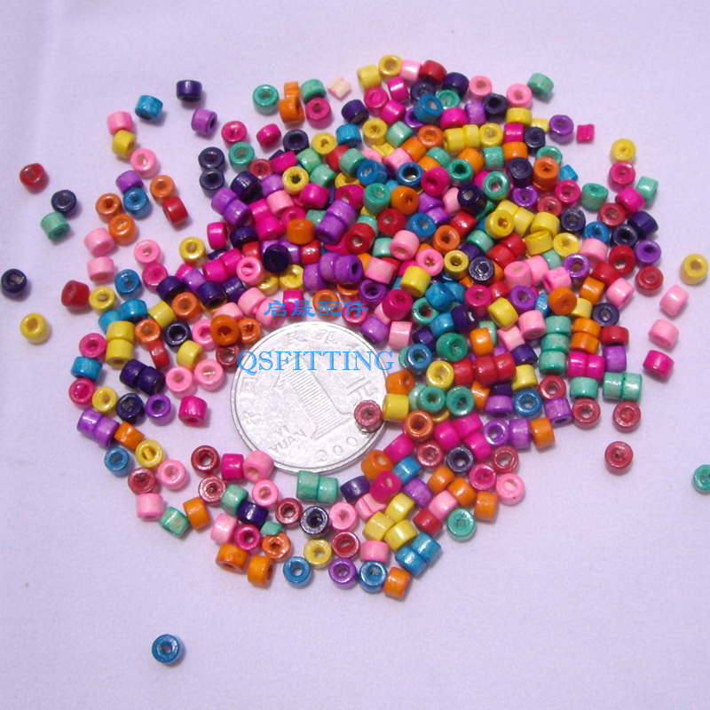200pcs/lot DIY fashion jewerly findings,4*3MM wood beads,Cylindrical bead,bracelet accessory,mix color
