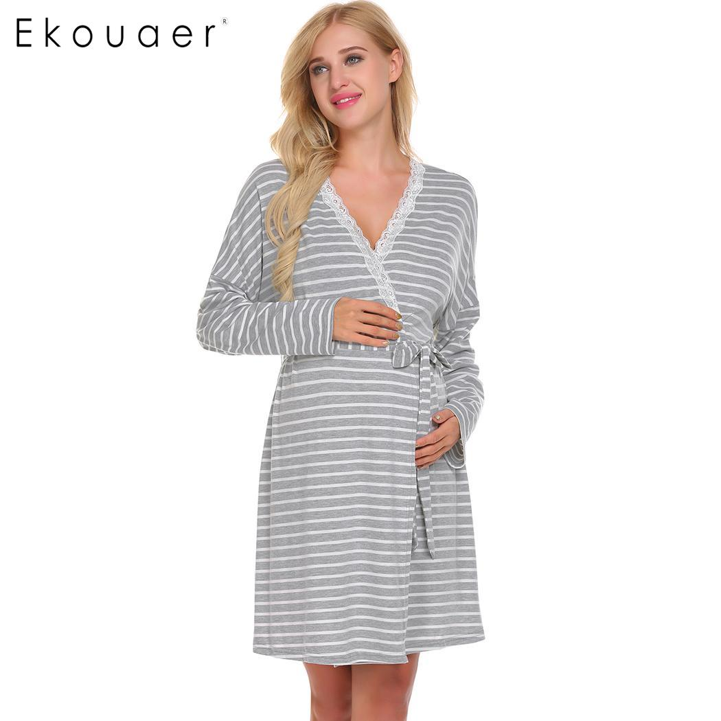Ekouaer Women Robe Kimono Nightwear Lace V-Neck Long Sleeve Striped Maternity Trim Wrap Dressing Gowns Female Bathrobe With Belt