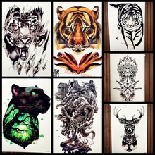 Forest King Of Tiger Temporary Tattoo Stickers For Men Body Art Arm Fake Flash Black Tattoo Waterproof Beast Fighter Paw Tatoos