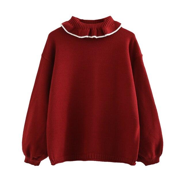 Hàn quốc Thời Trang Mùa Xuân Phụ Nữ Áo Thun Áo Len Ngọt Ngào Ruffles Cao Cổ Màu Đỏ Trắng Dệt Kim Jumper Tops Mùa Đông Knitwears