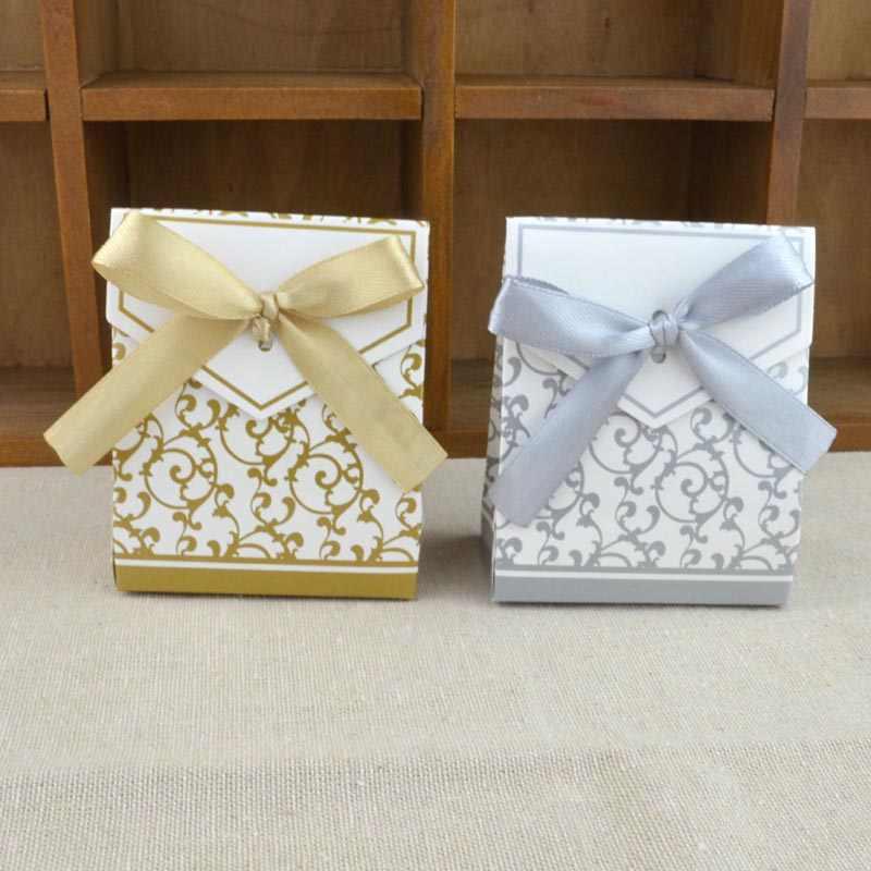 10 pçs/lote Criativo Papel Boxs Com Favores Do Casamento Da Fita de Ouro de Prata de Ouro Embalagem Sacos De Doces do Presente da Festa de Aniversário Suprimentos