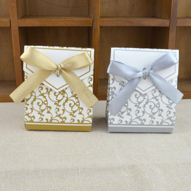 10Pcs/lot Creative Gold Silver Paper Boxs With Gold Ribbon Wedding Favours Birthday Party Gift Candy Bags Packaging Supplies