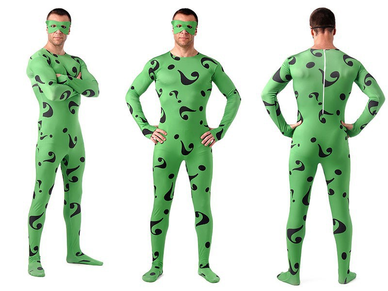 (A5-048)Green Unisex Full Body The Riddle Question Mark Lycra Spandex Superhero Spiderman Zentai Suits Halloween Costume