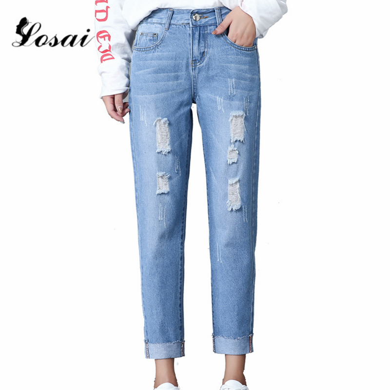 Jeans   for Women Mom   Jeans   High Waist   Jeans   Woman High Elastic Boyfriend Plus Size Stretch   Jeans   Washed Denim Straight Pants