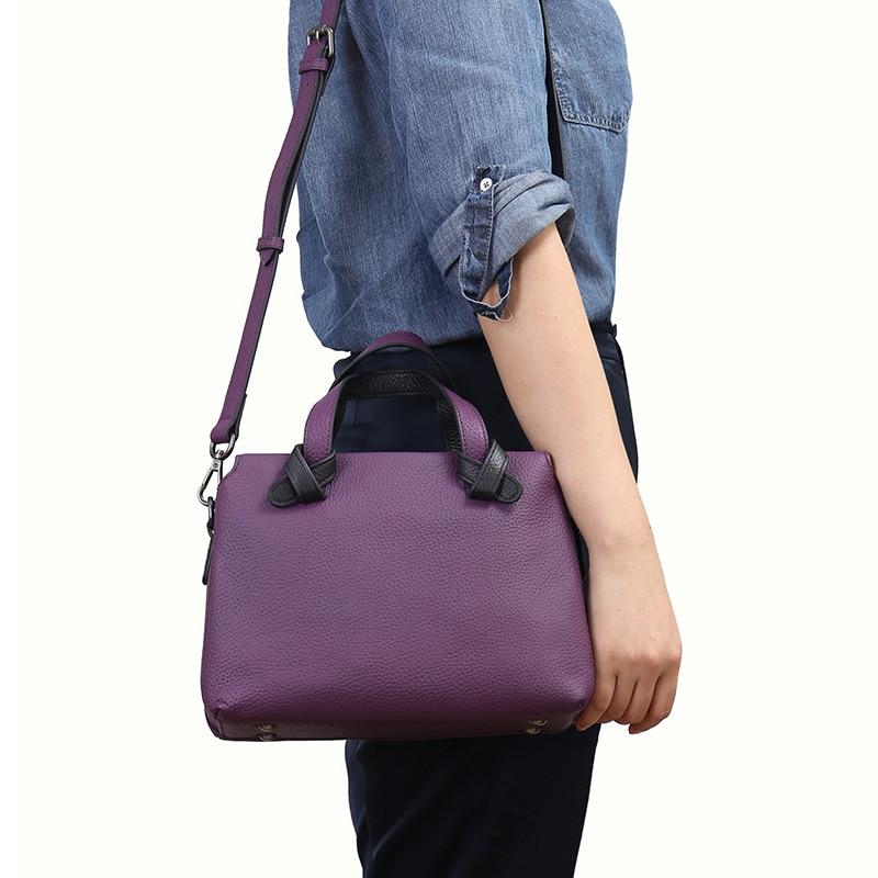 Casual Genuine Cow Leather Handbag Women Crossbody Satchels Tote Bag