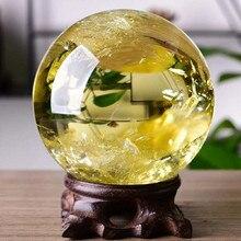 2019 hot 1pcs 50MM 100% Natural yellow crystal healing ball natural reiki home decoration  Free shipping