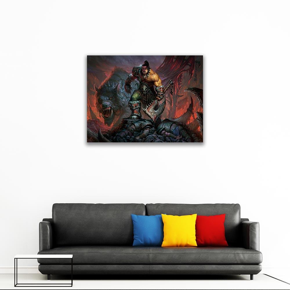 Garrosh Hellscream Canvas Painting Video Game Wall Pictures Restaurant Art Painting in Painting Calligraphy from Home Garden