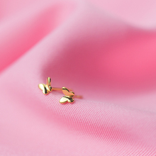 MloveAcc 100% 925 Sterling Silver Cute Tiny Gold Color Butterfly Stud Earrings Gift for Women Girls