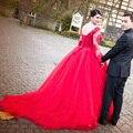 Красный Свадебное Платье Плюс Размер Лодка Шеи Аппликация Кружева Длинным рукава Бальное платье сшитое Свадебные Платья Рукава свадебные платья novia