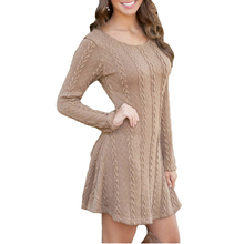 Sweater Dresses Work Twist-Knitted Long-Sleeve Mini Autumn Winter Cotton Plus-Size Womens