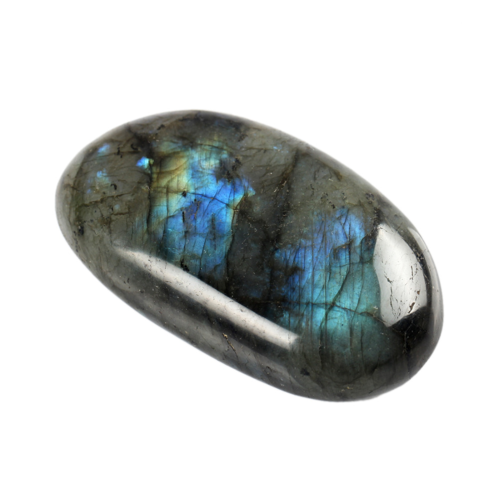 YWG Stone Natural Labradorite Clear Crystal Blue Calcite
