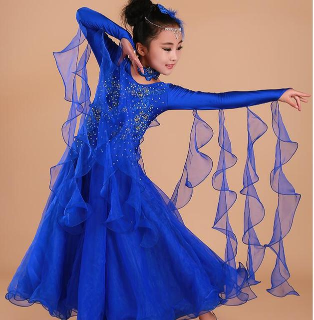 Дети современная Танцевальный костюм высокое качество Детские платье для танцев вальс Длинные рукава национальный стандарт Танцы платье