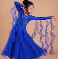 Children Modern dance costume High Quality Baby dancing dress Waltz Long sleeves National standard dance dress