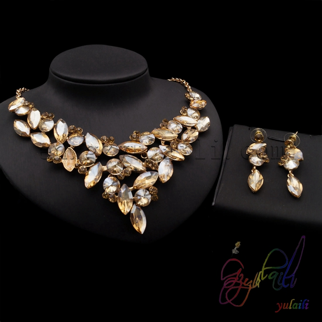 Ensemble de bijoux en cristal de fleur jaune petits ensembles de bijoux de mode ensemble de bijoux artificiels Kundan