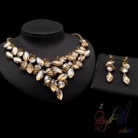 yellow flower crystal jewelry set small fashion jewelry sets Kundan artificial jewellery set