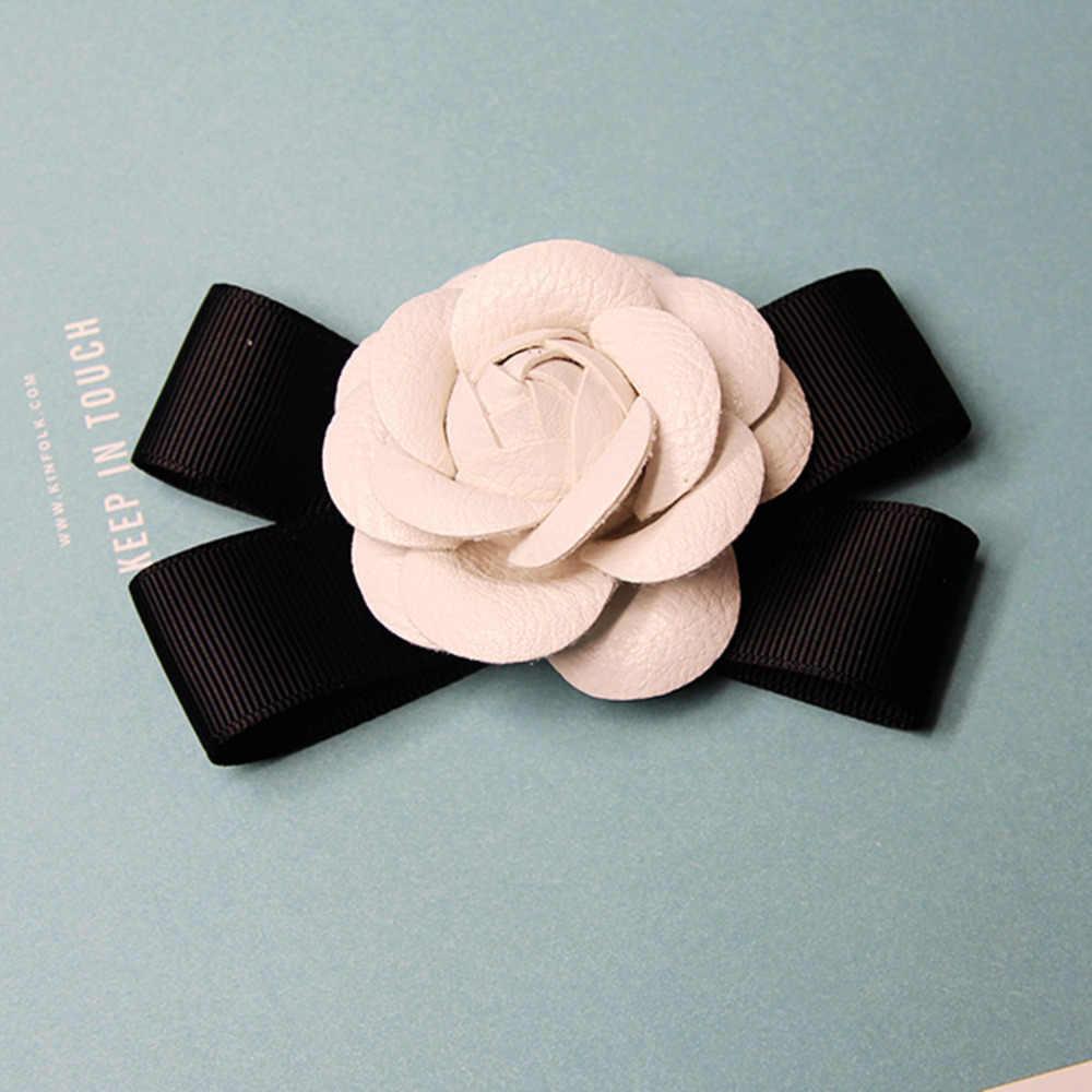 DoreenBeads 1 PZ Black & White Camellia Fiori Sew on Patch per le Ragazze Donna Hairbands Cappelli Abiti FAI DA TE Mestieri Capelli accessori