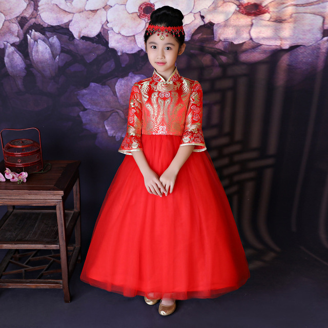 5bdaa07e5 Red Kids Qipao Flower Girl Princess Dress Children Cheongsam Chinese New  Year Dresses Traditional Oriental Evening Gowns