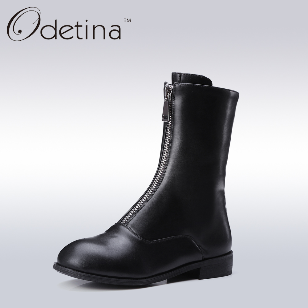 Odetina Black Front Zipper Flat Women Mid Calf Boots Fashion Ladies Round Toe Riding Boots Spring&Autumn Short Casual Booties double buckle cross straps mid calf boots