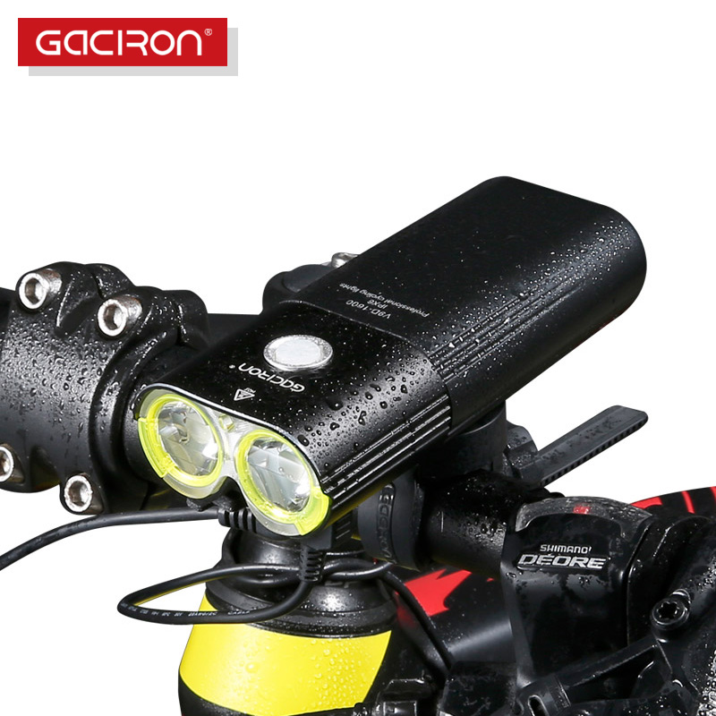 GACIRON Professional 1600 Lumenów Rowerowy Light Power Bank Wodoodporny USB Rechargeable Bike Light Flashlight