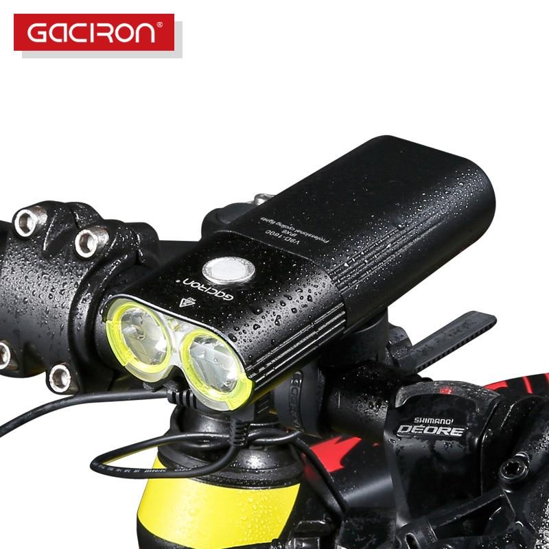 GACIRON profesional 1600 lúmenes bicicleta luz banco de energía impermeable USB recargable bicicleta luz linterna