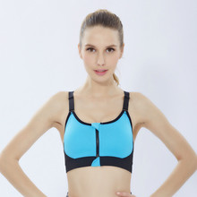 New High-Elastic Ladies Shockproof Zipper Sports Bra Yoga Fitness Gathered Quick-Drying Underwear Vest