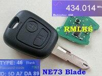RMLKS 2 Düğme Uzaktan Araba Anahtarlık Peugeot 206 Için Fit 207 Citroen C2 Için SORMAK 433 MHz PCF7961 Çip Transponder Anahtar Uncut bıçak