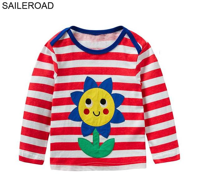 SAILEROAD Flower Toddler Tops T Shirts Red White Striped Baby Full Clothes  Autumn Girls Long Sleeve Shirts for Boys Top Clothes-in T-Shirts from