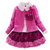 Children S Winter Clothes Set Girls Sweater Coat Cotton Blouses Lace Skirt 3pcs Suit Girls Princess