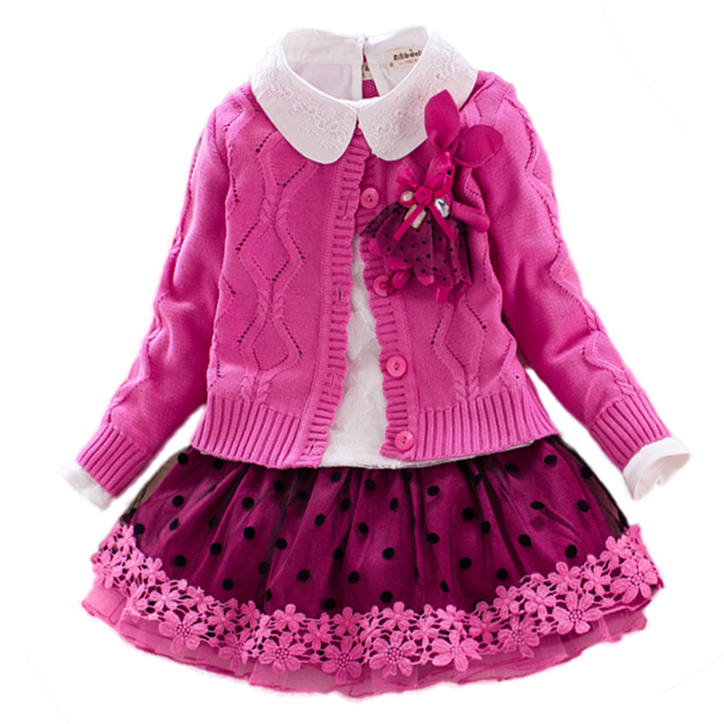 Children`s Winter Clothes Set Girls Sweater Coat+cotton Blouses+lace Skirt 3pcs Suit Girls Princess Shcool Clothing for 4y-8y