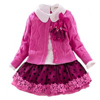 Children`s Winter Clothes Set Girls Sweater Coat+cotton Blouses+lace Skirt 3pcs Suit Girls Princess Shcool Clothing for 4y 8y