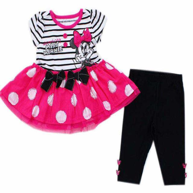 Orignal Marca al por menor 18 M de los bebés minnie mouse vestido de rayas y pantalones Set, minnie mouse vestido y leggings conjuntos