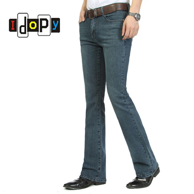 fa8badf7167 Casual Mens Bell Bottom Jeans Business Blue Mid Waist Slim Fit Boot Cut  Semi-flared