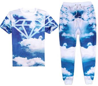 2016 estilo Del Verano cielo Azul nube blanca de diamantes de Impresión 3d camiseta + corredores hombres/mujer emoji joggers pantalones de hip hop 2 unidades conjunto