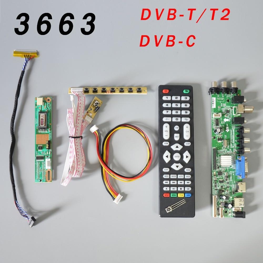 Ds. placa de driver lcd om v56 v59, DVB-T2 placa de tv + interruptor de 7 teclas + ir + 1 lâmpada inversor + lvds 3663