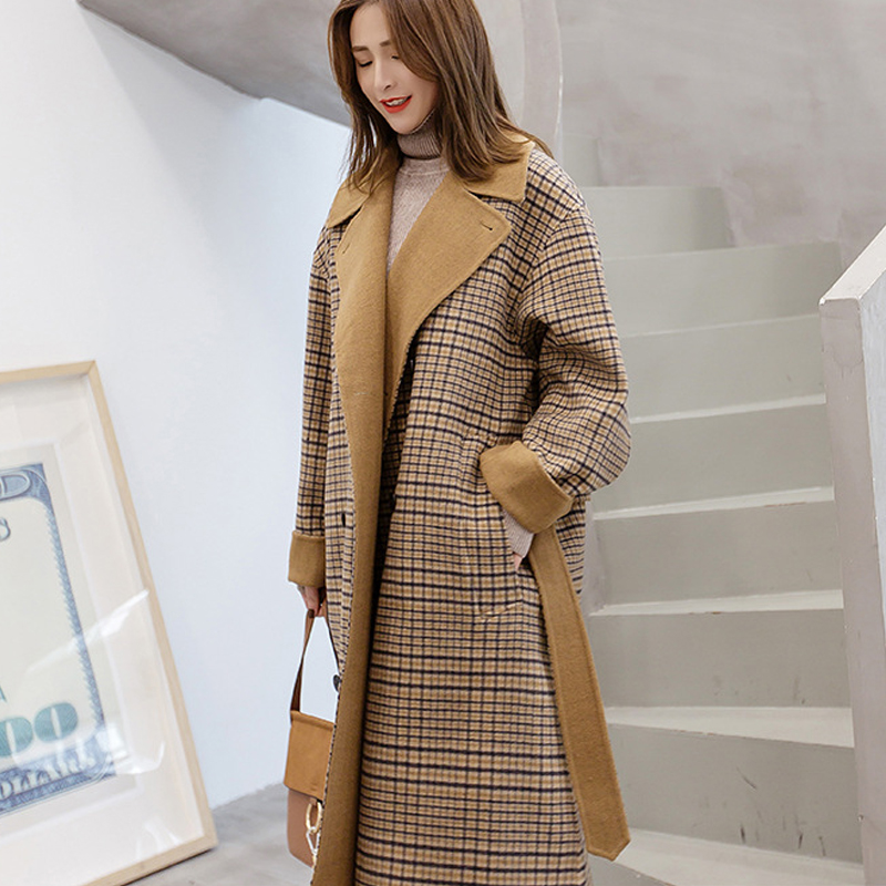 À Manches longues Hiver Laine Manteau Femmes Modèle de L'europe de Grande Taille Casaco Feminino Dames Automne Nouvelle Slim Longue Laine Manteaux