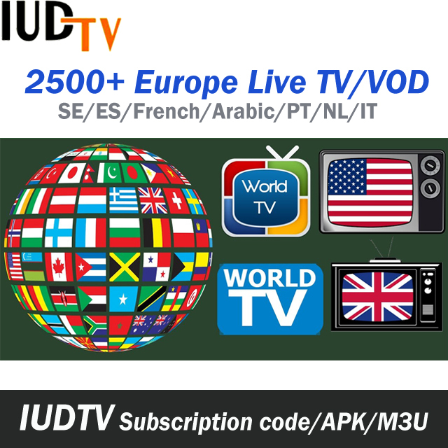 1 Year IUDTV IPTV Subscription Cost Swedish French TV For Android TV Box APK and M3U