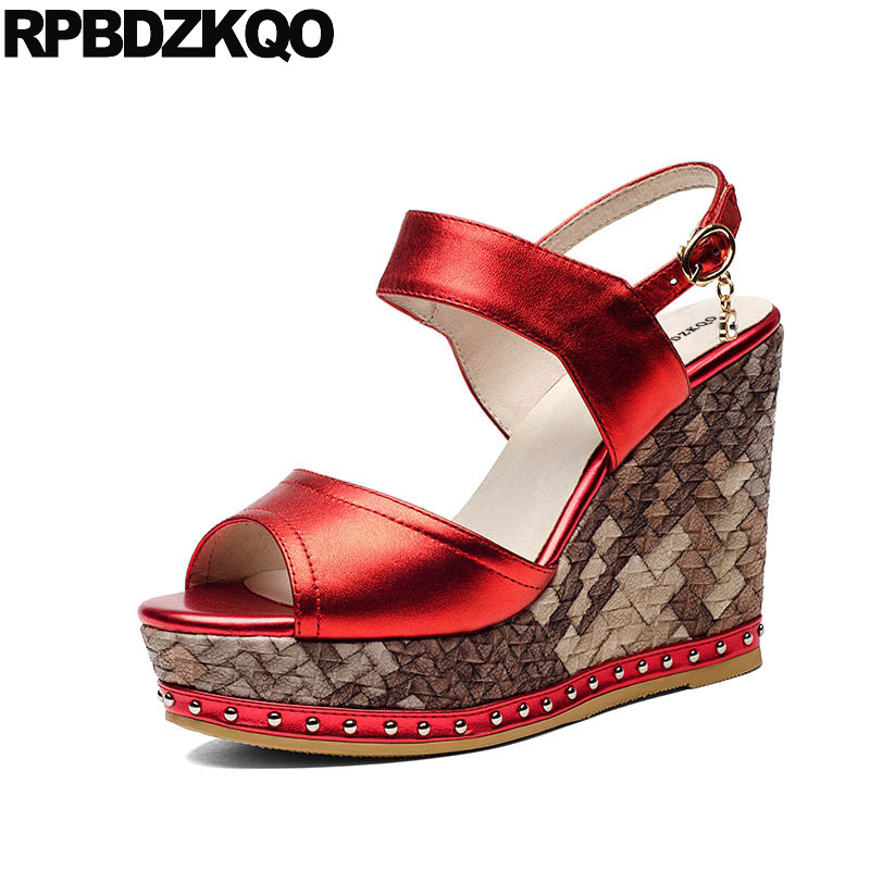 Pumps Shoes Fetish Wedge Extreme Red Double Strap Sandals Peep Toe Women Platform Rivet Stud Genuine Leather Sexy High Heels цена
