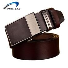 FUNTEKS2017 New Designer Belts Men Automatic Buckle Cow Genuine Leather Men Belt 105cm-125cm Luxury Belts For Men Ceinture Homme