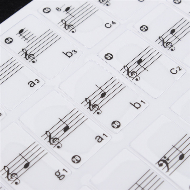 Зебра 2 шт. белый прозрачный Пианино клавиатура нот Стикеры Пианино Интимные аксессуары наклейка этикетка для 61 электронный ключ клавиатур...