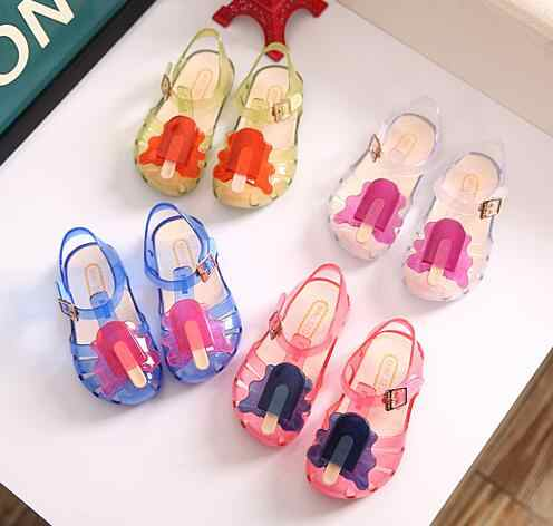 2019 Colorful Mini sed Popsicle High Quality Kid's Sandals Soft Leather Rain Boots Buckle Strap Charm Children Shoes