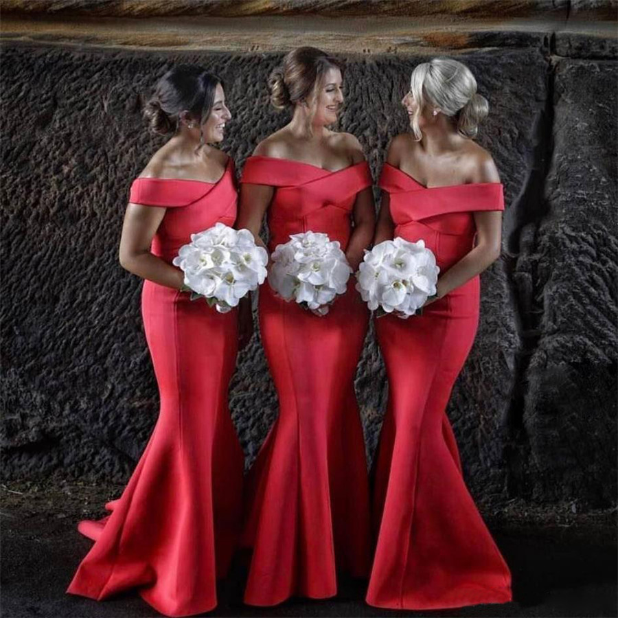 Elegant Red Mermaid Long   Bridesmaid     Dresses   Boat Neck Off The Shoulder Floor Length Custom Made Wedding Party Gowns Plus Size