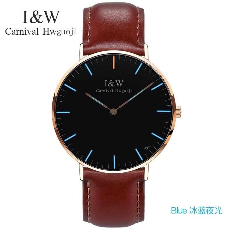 남성 럭셔리 카니발 i & w 블루 트리튬 빛나는 쿼츠 시계 남성 초박형 방수 손목 시계 남성 가죽 시계 relogios-에서수정 시계부터 시계 의  그룹 2