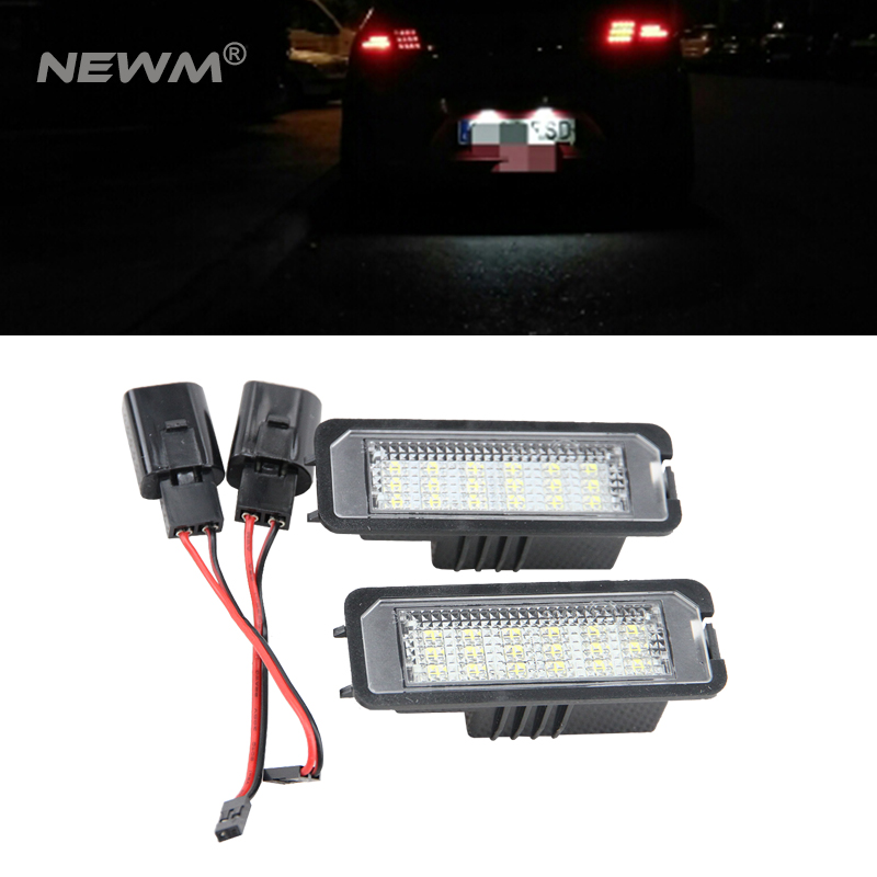 2Pcs LED License Plate Light Canbus Number Plate Lamp 12V Car Styling For VW Golf Passat Golf 4 5 6 Polo Phaeton New Beetle CC qook 2piece car error free led license number plate light lamp for porsche vw golf polo passat seat number plate lamp