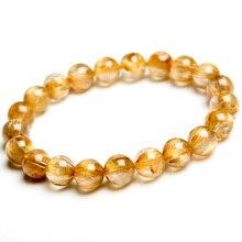 100% Natural Gold Rutilated Quartz Crystal Woman Man Gemstone Titanium From Brazil 9mm Round Beads Bracelet Jewelry Bangle AAAA
