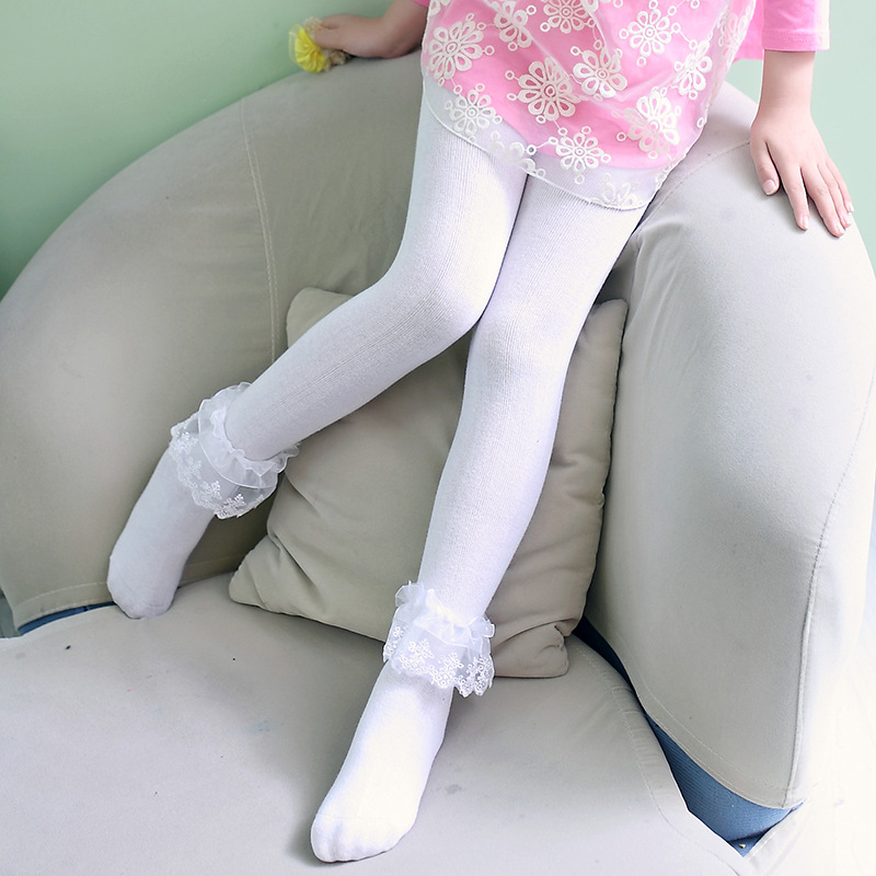 Spring Cotton Children Tights Cotton Knitted Lace White -2051