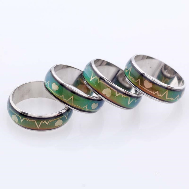 MISANANRYNE Mood Feeling Changing Color Finger Ring Unique Heart Shape Electroca