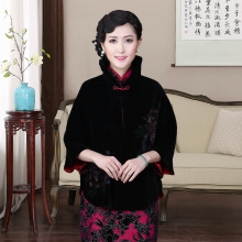 где купить Chinese Traditional Shawl Coat  Women's Velvet  Black Jacket Size  One Size дешево