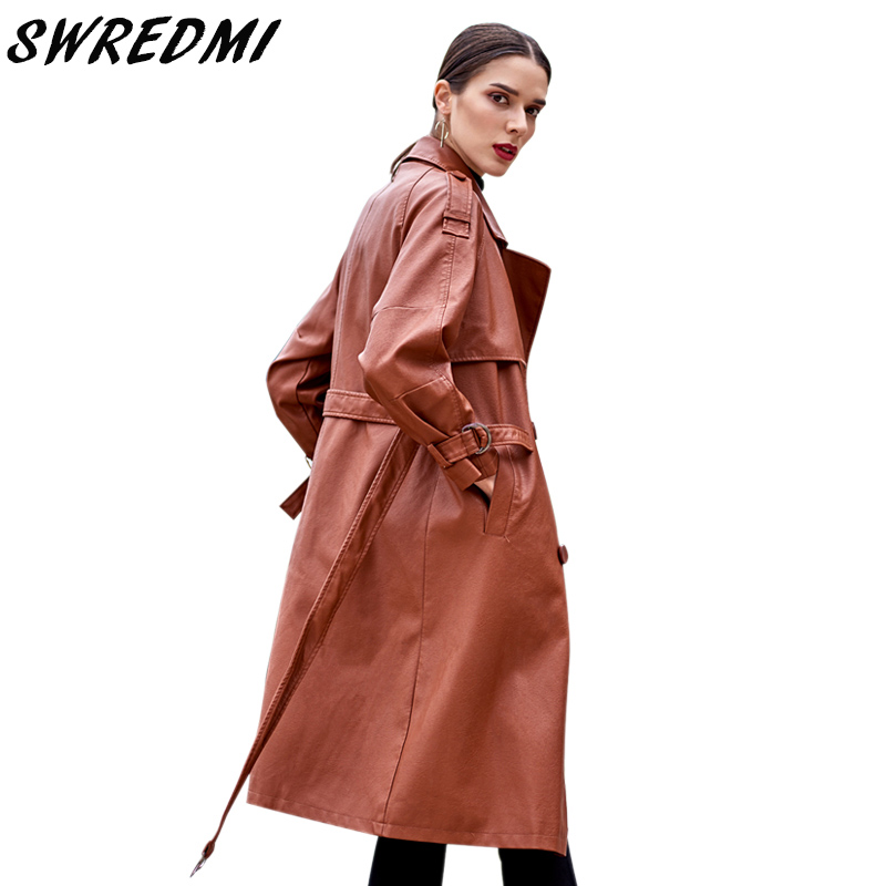 SWREDMI 2018 Autumn And Winter New Women Leather Trench Brown Female Leather Coat High Street Sashes Long Leather Clothing Plus